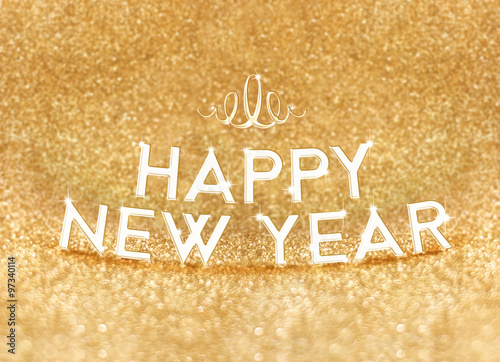 Happy New Year Word At Bright Gold Glitter Background Holiday G