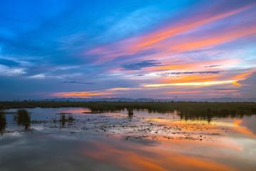 Beautiful sunset at Khao Sam Roi Yod National Park in Prachupkhirikhan, Thailand