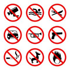 Prohibition icons set