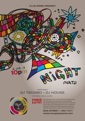 Vector night party invitation disco style. Vector template graph