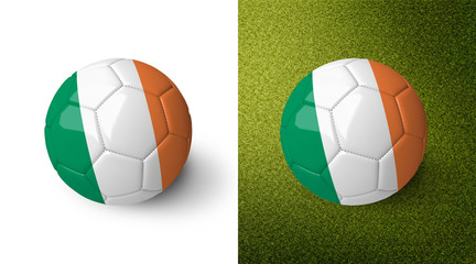 3d realistic soccer ball with the flag of Ireland on it isolated on white background and on green soccer field. See whole set for other countries.