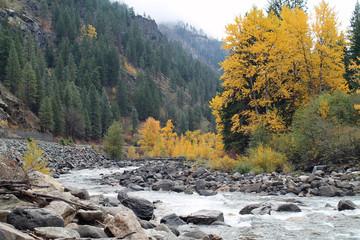 Icicle River in Autumn, Leavenworth, Washington