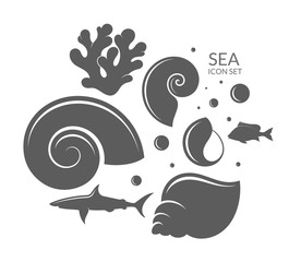 Sea. Icon set. Reef