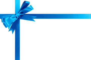 Light blue gift ribbon bow horizontal corner cross shape isolated on white
