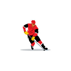 Hockey man. Vector Illustration.