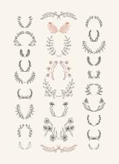 Set of symmetrical floral graphic design elements.