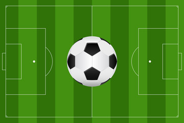 Football field and Soccer ball. Green soccer field Top view.