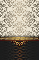 Wall Mural - Decorative floral background with elegant patterns and border.