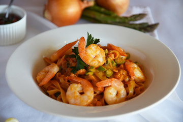 Shrimp pasta & Shrimp salad