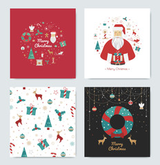 Set of Christmas cards for the holidays. Bright cards, white, black and red for the new year 2016. Prints Gift