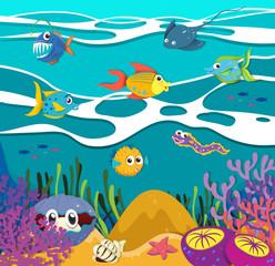 Fish and sea animals underwater