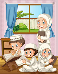 Muslim family praying in the house