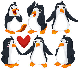 Cute penguins in different poses