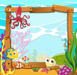 Border design with sea animals