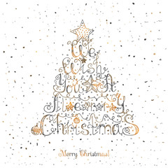 Hand drawn sketchy christmas card We wish you a Merry Christmas Doodle illustration quote Christmas tree shape, unique typography poster Vector design element for congratulation banners and flyer