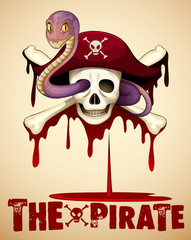 Pirate theme with skull and snake