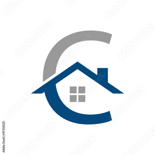Simple flat c home house logo template stock image and for Minimalist house logo