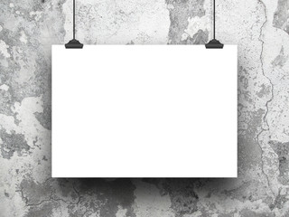 Single hanged horizontal paper sheet frame with clips on cracked and scratched concrete wall background
