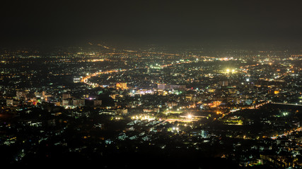 Chiang Mai cityscape view at night, Thailand