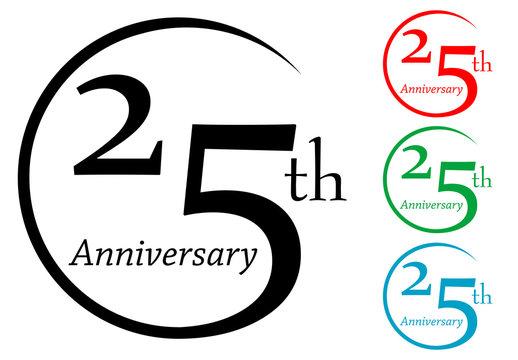 Icono plano 25th Anniversary en varios colores #2