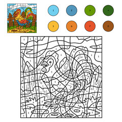 Color by number for children: farm animals (rooster, cock)