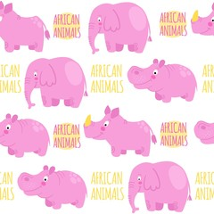 African animals pink vector seamless pattern: elephant, rhino, h