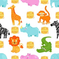 African animals vector seamless pattern: elephant, rhino, hippo,