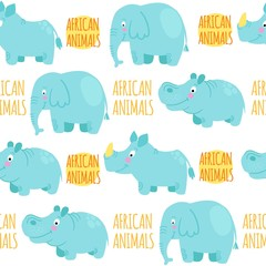 African animals vector seamless pattern: elephant, rhino, hippo.