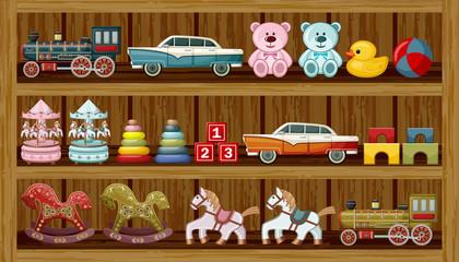Vintage toys on the shelf. Vector