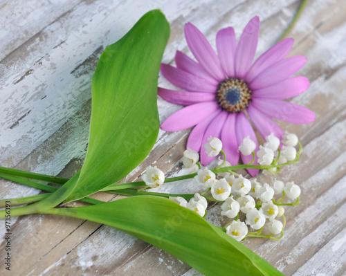 Bouquet de muguet avec fleur rose sur bois blanc photo for Bouquet de fleurs muguet