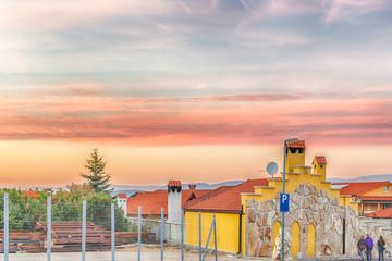 sunset on houses of medjugorje