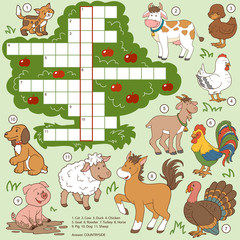 Vector color crossword, education game for children about farm a