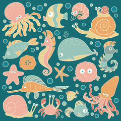 Set of vector ocean animals, stickers of fish