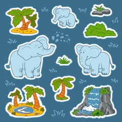 Set of cute elephants and natural sites, vector stickers of anim
