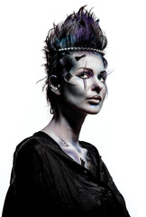 Woman with creative chess figures make-up