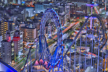 Tokyo Amusement Park . View of the Tokyo Amusement Park at Korakuen,beside Tokyo Dome,captured from Bunkyoku civic center,between shinjuku and Akihabara in Japan.