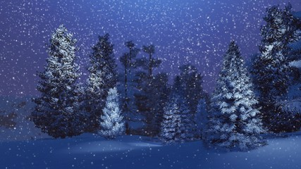 Dreamlike winter scenery. Snow-covered spruce forest at magical snowfall night. Background is out of focus.