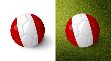 3d realistic soccer ball with the flag of Peru on it isolated on white background and on green soccer field. See whole set for other countries.