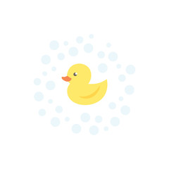 Yellow duck with bubbles
