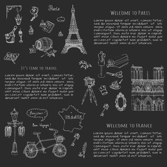 Set of hand drawn French icons, Paris sketch illustration, doodle elements, Isolated national vector elements Travel to France icons for cards, web pages, travel articles Paris symbols collection