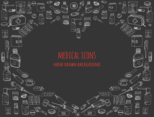 Set of health care and medicine hand drawn icons, doodle medical elements, vector background with wellness freehand drawings Vector sketch illustration with outlined medical icons