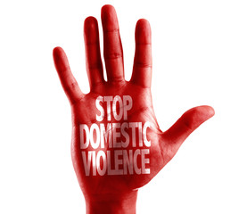 Stop Domestic Violence written on hand isolated on white background