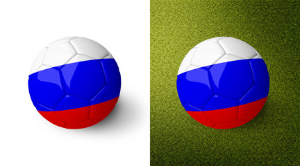 3d realistic soccer ball with the flag of Russia on it isolated on white background and on green soccer field. See whole set for other countries.