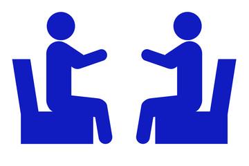 椅子に腰かけて対面する人のイラスト 青
