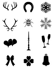 New Year and Christmas icons collection, vector