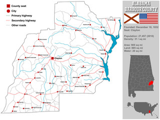 Large and detailed map and infos about Barbour County in Alabama.