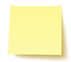 Quadratischer, unbeschrifteter Postit-Zettel / gelb, Vektor, freigestellt