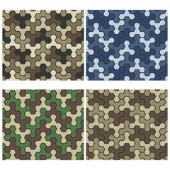 Seamless Camouflage Geometric Pattern Set. Three And Six Color V