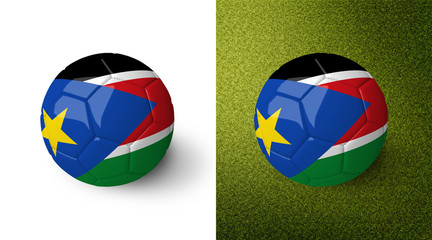 3d realistic soccer ball with the flag of South Sudan on it isolated on white background and on green soccer field. See whole set for other countries.