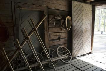 Interior of rustic wooden barn.